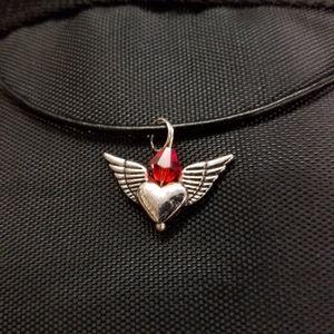 Nwot Swarovski Silver Angel Heart leather necklace